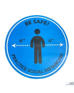"""Covid BE SAFE 17"""" Floor Decal (Blue)"""