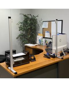Desk Plexiglass Sneeze Guard with Aluminum Frame 42x30
